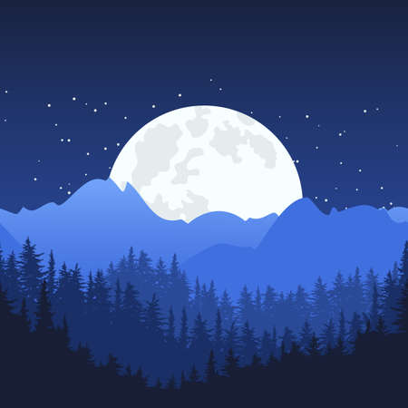 panoramic nature: Nature horizontal seamless background. Night mountain landscape and full moon on the sky. Mysterious night sky. Illustration