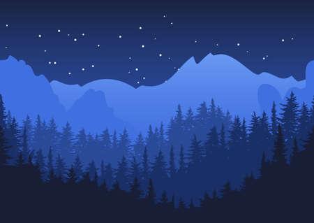 自然水平シームレスな背景。青い夜の山の風景。神秘的な夜の空。