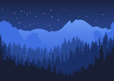 Nature horizontal seamless background. Blue night mountain landscape. Mysterious night sky.