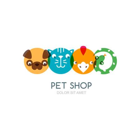 icônes plates colorées de tête de chien, chat museau, oiseau et le serpent. Vecteurs