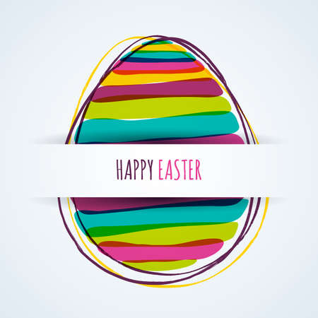 Happy Easter greeting card. Horizontal paper background with multicolor striped egg. Banner, poster vector design elements.