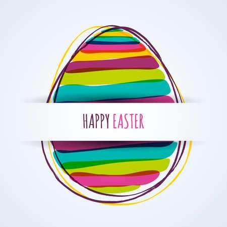 Tarjeta de felicitación feliz de Pascua. Fondo de papel horizontal con huevo rayado multicolor. Banner, elementos del diseño del vector del cartel. Ilustración de vector