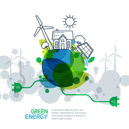 energy saving: Environmental and ecology concept. Vector green earth with wire plug. Power generation and alternative energy outline illustration. Creative background for save earth day. Illustration