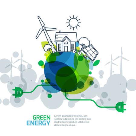 Milieu en ecologie concept. Vector groene aarde met draad stekker. Energieopwekking en alternatieve energie schets illustratie. Creatieve achtergrond voor sparen aarde dag.