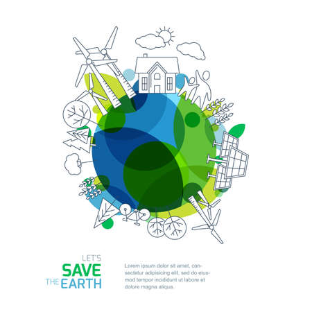 save the earth: Environmental and ecology vector illustration. Green earth with outline sketch trees, house, wind turbine and solar battery. Background design for save earth day. Nature  and planet protection.