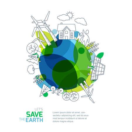 Milieu en ecologie vector illustratie. Groene aarde met overzicht schets bomen, huis, windturbines en zonne-batterij. Achtergrond ontwerp voor sparen aarde dag. Natuur en de bescherming van onze planeet.