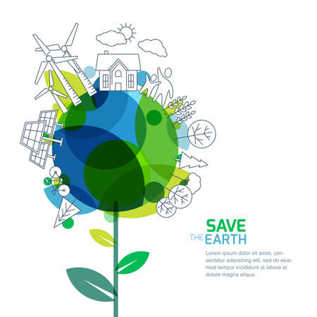 Vector illustration of growing plant and earth with outline trees, house, people and alternative energy generators. Green world, environment and ecology concept. Background design for save earth day.