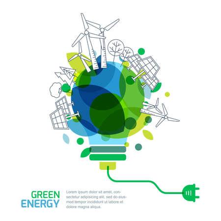 Energiesparkonzept. Vektor-Illustration der Glühbirne mit Umriss Bäume, alternative Wind- und Solarenergie-Generatoren. Grüne erneuerbare Energien und Umwelt.