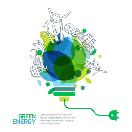 conservation: Energy saving concept. Vector illustration of light bulb with outline trees, alternative wind and solar energy generators. Green renewable energy and environmental.