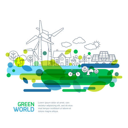 alternative energy: Green landscape illustration, isolated on white background. Saving nature and ecology concept. Vector linear trees, house, people and alternative energy generators. Design for save earth day. Illustration
