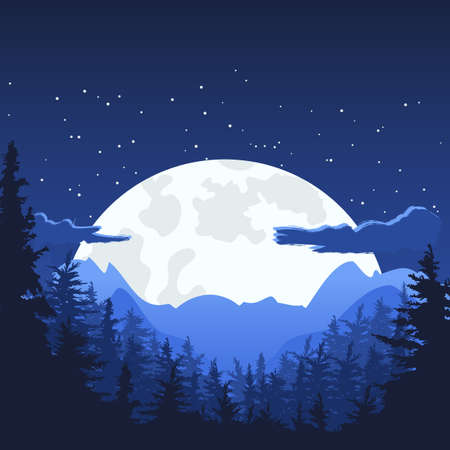 pine forest: Night mountain landscape with full moon. Vector nature background with copyspace. Panorama of mountains, pine and fir-tree forest.  Mysterious night sky.