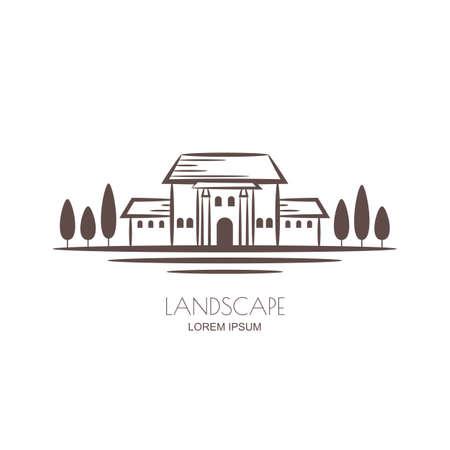Tuscany landscape, villa and vineyard fields. Vector sketch illustration of rural landscape.