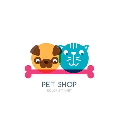 Colorful flat illustration of dog, cat and bone.