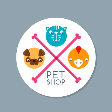 puppy dog: Vector circle label with pets. Flat illustration of dog, cat, canary and bone.