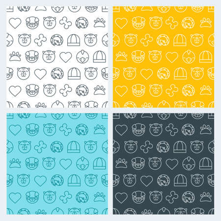 shop for animals: Set of vector seamless pattern with linear pets icons. Cat, bird, snake and dog signs. Goods for animals. Design for pet shop or veterinary. Simple background for textile print, wrapping paper or web.