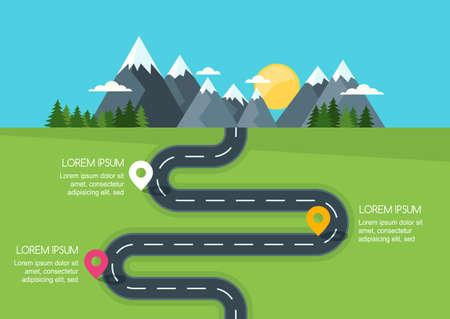 Camino con la plantilla de marcadores, infografía vector. Camino de enrollamiento en campo verde y las montañas. Calle rural ilustración de estilo plano. Verano o la primavera de fondo del paisaje con el espacio para el texto.