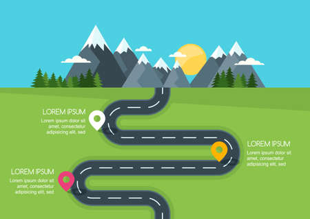 Road with markers, vector infographics template. Winding road in green field and mountains. Rural street flat style illustration. Summer or spring landscape background with space for text.