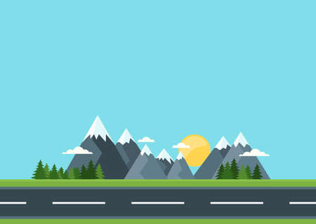 rural road: Country road in green field and mountains. Rural street flat style illustration. Summer or spring landscape. Vector flat background with space for text.