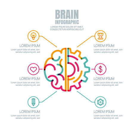 cog gear: Brain and gear cog, vector infographics design. Abstract flat style illustration. Concept for business, brainstorming, high technology, development, innovation, creativity