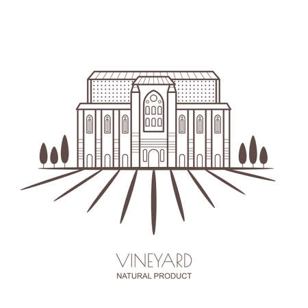 vineyards: Tuscany landscape with vineyard fields and villa. Linear vector illustration of rural landscape. Trendy concept for wine list, bar or restaurant menu, labels and package.