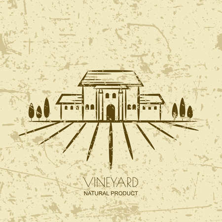 Vector old grunge background with vineyard fields and villa. Tuscany rural landscape. Trendy concept for wine list, bar or restaurant menu, labels and package for organic products.