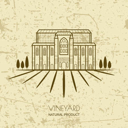 tuscan: Tuscany landscape with vineyard fields and villa. Vector rural landscape on grunge background. Trendy concept for wine list, bar or restaurant menu, labels and package for organic products.
