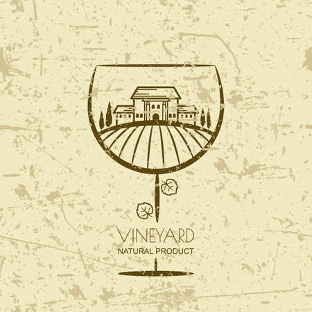 vineyards: Tuscany landscape with vineyard fields, villa, trees in wine glass shape.  Vector rural landscape on grunge background. Concept for wine list, bar or restaurant menu, labels and package. Illustration