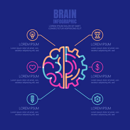 cog gear: Brain and gear cog, vector infographics design template and icons set. Concept for business, brainstorming, high technology, development, innovation, creativity.