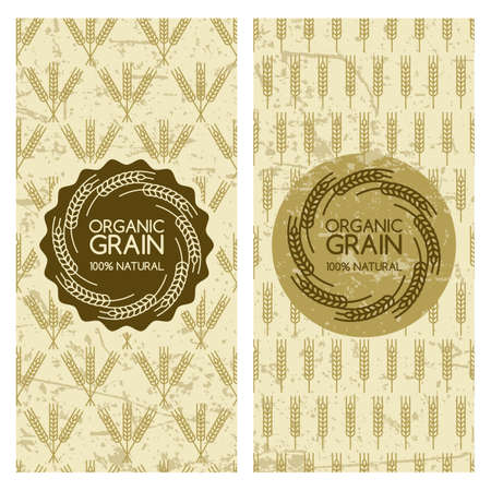 produits c�r�aliers: Set of organic wheat grain backgrounds. Grunge seamless pattern with cereals. Vector banner, label, package template. Concept for organic products, harvest, grain, flour, bakery, healthy food. Illustration