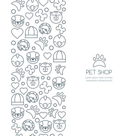 cat grooming: Vector seamless vertical background with outline icons of cat, bird, snake and dog. Banner or flyer design template with copyspace. Trendy concept for pet shop, pets care and grooming, veterinary.