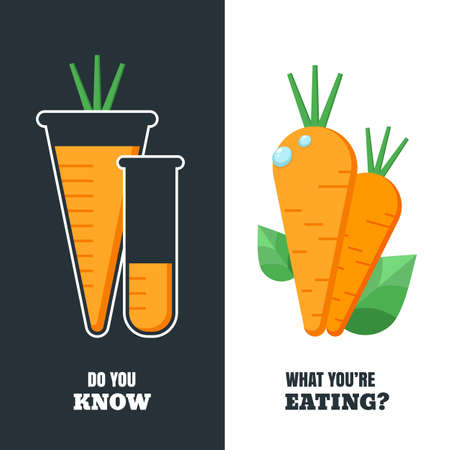 herbicide: Healthy and gmo food concept. Vector illustration of organic carrot and flask with pesticides and chemicals. Farming and agriculture vegetables icons. Do you know what youre eating. Illustration