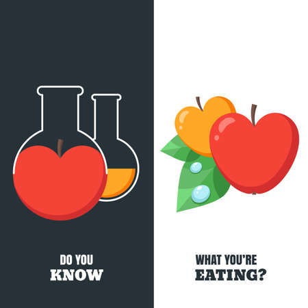 apple gmo: Healthy and gmo food concept. Vector illustration of organic apple and flask with pesticides and chemicals. Harvest and agriculture fruits icons. Do you know what youre eating. Illustration