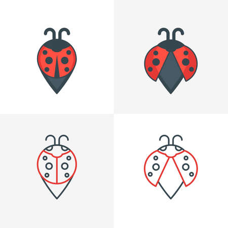 waypoint: Abstract ladybug point symbols. Stylized map waypoint. Set of vector icon, label design elements. Outline and flat style illustration.