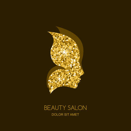 golden hair: Female face in butterfly wings. Vector sticker or label design element. Concept for beauty salon, cosmetics, cosmetology and spa. Golden butterfly. Women profile with gold texture background.