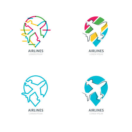 waypoint: Flight airplane silhouette and waypoint symbol. Set of vector flat and outline  , emblems or labels design elements. Map point icons. Travel agency, airlines, sale tickets concept.