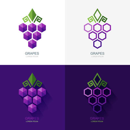 food technology: Set of vector grapes  , icon, label elements. Flat grape isolated symbol. Geometric shape grapes vine made from hexagons. Concept for winery, wine menu. Alcohol drinks and food technology.