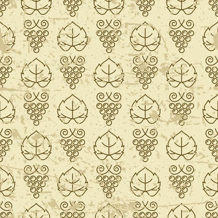 oenology: Vector seamless pattern with outline vine grape and grape leaves. Grunge old background. Design for print, package, wrapping paper, winery, wine list, alcohol drinks production.