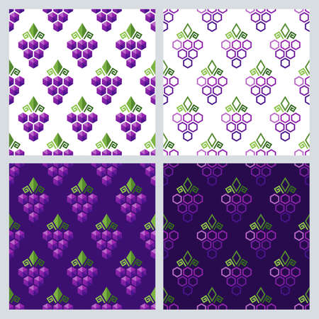 grapes on vine: Set of vector seamless pattern with grapes. Flat background with grape. Geometric shape grapes vine made from hexagons. Concept for winery, wine menu. Alcohol drinks and food technology. Illustration