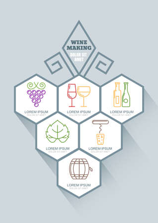 winemaking: Wine and winemaking vector infographics design. Outline icons set of wine, grape vine, wine glass, wine bottle. Abstract flat style geometric shapes. Alcohol drinks production and food technology.