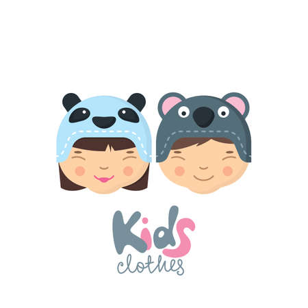 baby clothing: Little boy and girl in funny hats with panda and koala bear muzzle. Kids clothes, label, badge, tag design elements. Baby store, online shop design. Flat illustration for prints.