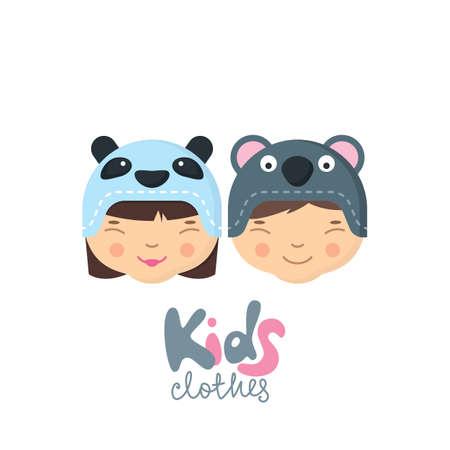 coala: ni�o y ni�a con sombreros divertidos con la boca del ca��n panda y el oso koala. la ropa de los ni�os, etiquetas, placas, elementos de dise�o de la etiqueta. tienda de beb�s, dise�o de la tienda en l�nea. ilustraci�n plana para las impresiones.