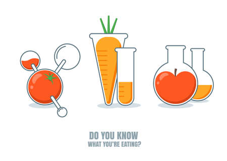 herbicide: Vector illustration of fruits, vegetables with pesticides or chemicals. Do you know what youre eating. Carrot, tomato, apple icons. Unhealthy or gmo food concept. Farming and agriculture technologies