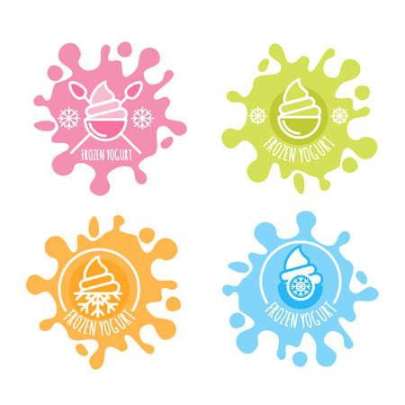 yogur: Conjunto de vector, etiqueta de yogur congelado en salpicaduras de leche multicolor. iconos de helado planas. Esquema emblemas de moda. Elementos de diseño de paquete y grabados.