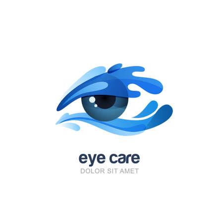 Illustrazione di vettore dell'occhio umano astratto in spruzzi di acqua pulita. elementi di design emblema. Concetto per ottica, negozio di occhiali, oculista, oftalmologia, ricerca sanitaria. Naturale la cura degli occhi organico