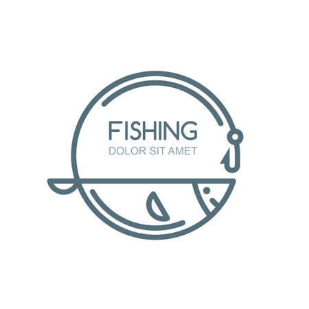 sturgeon: Vector fishing  label, badge, emblem design elements. Outline fish, fishing rod and hook illustration, isolated.