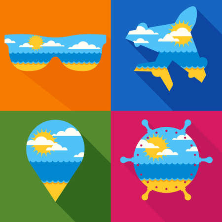 waypoint: Set of vector travel backgrounds. Summer landscape with sea, sun, clouds, sand beach. Waypoint, airplane, sunglass, steering wheel icons. Travel agency, airlines, cruise and summer holidays design.