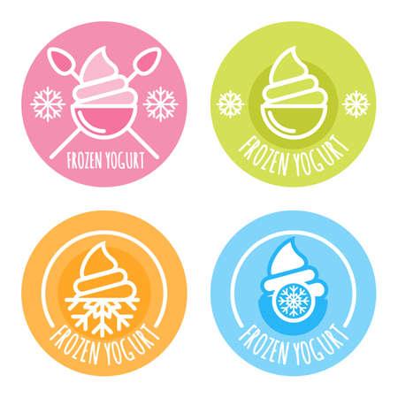 yogurt: Conjunto de vectores lineales, etiqueta, de yogur congelado. Multicolores iconos de helado. emblemas círculo contorno. Elementos de diseño de paquete y grabados.