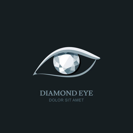 ophthalmology: Vector illustration of abstract human eye with diamond pupil.   design element. Gem stone icon. Concept for optical, glasses or jewelry shop, ophthalmology.