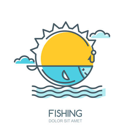 ocean fishing: Vector linear colorful illustration of sun, fish in the sea, fishing rod and hook. Fishing   label, badge or emblem design elements.