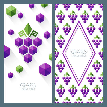 grape vines: Vector seamless pattern and abstract background with grapes. Banner, flyer, label, identity design template. Concept for winery, wine list. Geometric shape grapes vine made from hexagons.